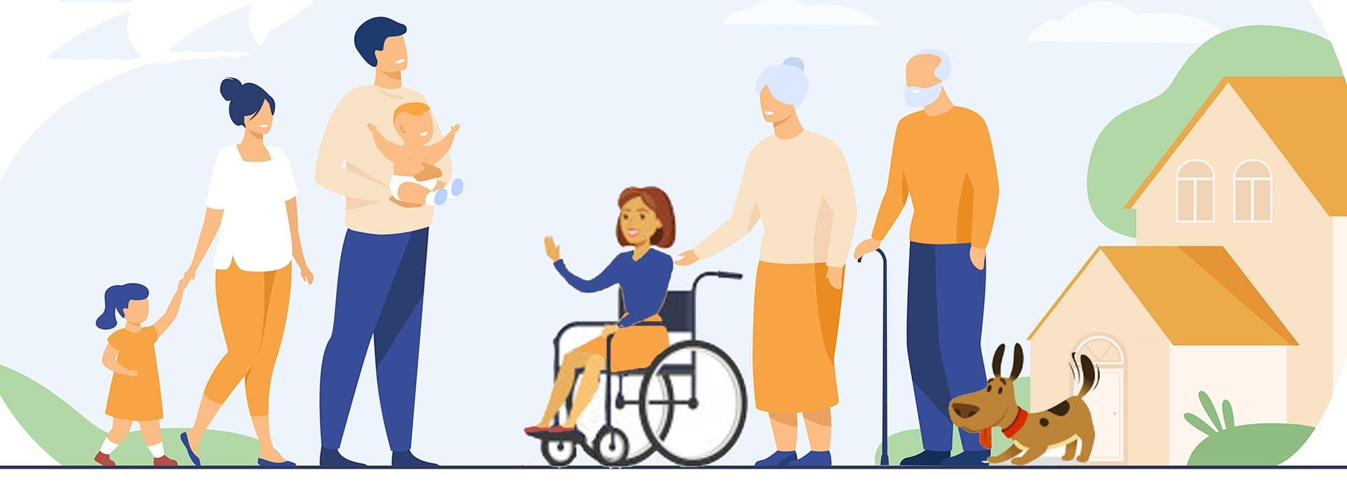 services à domicile illustration avec actif, enfant, sénior, handicapés, animal et maison